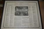 """rare Placard """"Congr�s lib�ral de Belgique"""" 14 juin 1846, liste des participants + illustration"""