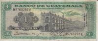 BILLETE DE GUATEMALA DE 1 QUETZAL DEL AÑO 1972  (BANKNOTE)  RARO - Guatemala