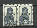 Lettland Latvia 1941 German Occupation Michel 2 In Pair MNH/MH - Lettonie