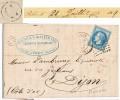 VAUCLUSE LAC 1869 ORANGE BOITE RURALE C = PIOLENC - 1849-1876: Période Classique