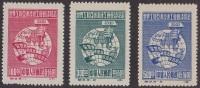 """$96 Cv! 1949 China Mint """"ORIGINAL PRINT"""" C3 Asian Australia Congress Of The World, Fist Globe, Banner Stamp Set; Sc.#5-7 - 1949 - ... République Populaire"""