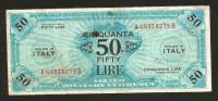 [CC] ITALIA - 50 Lire Allied Military Currency 1943 (BILINGUE) WWII - Occupazione Americana - [ 3] Military Issues