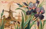 """Jolie Carte Fantaisie Gaufrée Avec Paillettes Moulin Vaches Et Iris """"Meilleurs Voeux """" (embossed Postcard) - Nieuwjaar"""