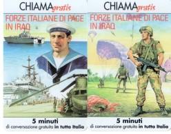 NUOVE-TELECOM ITALIA-CHIAMAGRATIS-FORZE ITALIANE DI PACE IN IRAQ-2 SCHEDE-COME DA FOTO - Army