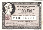 Billet Loterie De La Fédération Nationale Des Plus Grands Invalides De Guerre - 1937 - Billets De Loterie