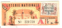 Billet Loterie Nationale - Tunisie - 1949 - Billets De Loterie
