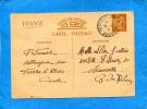 MARCOPHILIE-Guerre 39-45-carte Inter Zone -iris 0.90-cad FESCHES Le  CHATEL-Mai1941-pour Marseille - Marcophilie (Lettres)