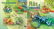 Mozambico 2013, Frogs And Snails, Shells, 4val In BF+BF - Mozambique