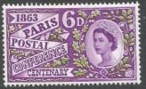 Great Britain. 1963 Paris Postal Conference Centenary. 6d MH. SG 636 - 1952-.... (Elizabeth II)