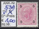 """1.9.1890 - FM/DM """"Kaiserkopf n. links""""  5 Kreuzer rot - ** postfrisch  - siehe Scan (53Ao)"""