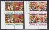 1992 San Marino Saint Marin MOSTRA MICOLOGICA, FUNGHI Dittico 2 Serie Di 4v. In Blocco MNH** MUSHROOMS - Funghi