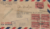 G)1951 PERU, MULTIPLE OF TYPE OF 1938 SURCHARGED IN BLACK, REGISTERED AIRMAIL CIRCULATED COVER TO CARIBEAN DESTINATION, - Peru
