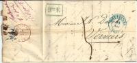 "Lettre de BRUXELLES (25 NOV 1846) + Port ""5"" + Griffe encadr�e ""BUREAU E"""
