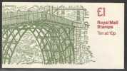 GB FH1A  DB8(10) Perf E1 £1 Ironbridge Left Margin Folded Booklet (BROKEN WITH CELLO) - Booklets
