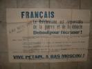 AFFICHES affiche contre le bolch�visme engagez -vous dans la l�gion des volontaires fran�ais vive PETAIN