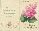 Carte Parfum  -  LILAS De CHERAMY -  Calendrier De 1939 Offert Par La Parfumerie JUVENA De CHARLEROI - Perfume Cards