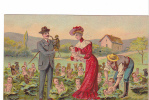 25340 Série Enfant Enfants Choux Chien Voiture Singe Couple -ed J.C. Paris En Relief -  Femme Rouge - Enfants