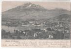 Switzerland CP BRIEFKAART Luzern Mit Pilatus Obliteration PLOMBIERES LES VOSGES LUZERN BRF EXP 1903 - VD Vaud