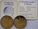 NETHERLANDS 2 REMBRANDT 2006 = 2 EURO KU NI ZI BIMETALLIC UNC+COA CON GARANZIA - Paesi Bassi