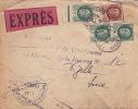 Lettre Exprés Type Petain CaD Lyon (Rhône) Griffe + Cachet Chantier De La Jeunesse 1943 - Marcophilie (Lettres)
