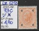 """1.12.1899 - FM/DM """"Kaiserkopf nach links""""- 6 Heller orange - ** postfrisch - siehe Scan (73C)"""
