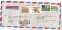 1991 REGISTERED Air Mail Moratuwa SRI LANKA COVER Stamps FISH , BIRD , JANA SAVIYA, To GB - Sri Lanka (Ceylon) (1948-...)