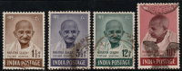 ~~~ India 1948 - Mahatma Gandhi Complete Set - Mi. 187/190 (o) Used ~~~ - Mahatma Gandhi