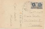 ITALIA 1951 DA PIACENZA CON 10 LIRE F. SARDO  SU CARTOLINA PER CITTA'