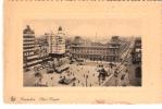 Bruxelles-+/-1920- Place Rogier Et Gare Du Nord-Tram-Tramway-Autobus-cadre En Relief (voir Scan) - Spoorwegen, Stations