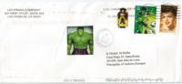 USA:  Green Lantern Superheroe, Sur Lettre Los Angelès, Adressée En Andorre, Avec Timbre à Date Arrivée - Stripsverhalen
