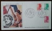 FDC 1982 - YT N°2180, 2181, 2187 - LIBERTE / DELACROIX - PARIS - Sur Soie - 1980-1989