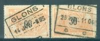 """BELGIE - OBP Nr TR 19 - Cachet  """"GLONS"""" (2 Verschillende Stempels) - (ref. AD-1147) - Bahnwesen"""