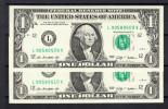ESTADOS UNIDOS   2009 1 DOLLAR. WASHINGTON.PAREJA NUMERACION CORRELATIVA .LIGERO DOBLEZ AL CENTRO  B655
