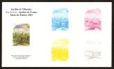 EPREUVE COULEUR - Etapes Successives De L´impression En Héliogravure Des Jardins De VILLANDRY N° 4581 - Epreuves D'artistes
