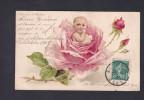 Carte Gaufrée Embossed FLEUR STYLE KLEIN BEBE Rose Faire Part GENEALOGIE Naissance Adrien Alphonse Grandpré - Autres