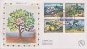 Monaco 1990 Y&T 1749/52. Les 4 Saisons Du Citronnier, Sur FDC Soie - Árboles