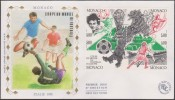 Monaco 1990 Y&T 1726/9. Coupe Du Monde De Football En Italie, Sur FDC Soie - 1990 – Italia