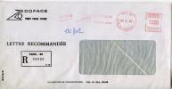 EMA COFACE,assurance,enveloppe Repiquée Etiquette Recommandé Imprimée,Paris,rue De La Tremoille,lettre 22.4.1983 - Post