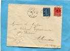 MARCOPHILIE-lettre-Affranchtleu-blanc -rouge -cad Argentan 1931- Timbres 1fr Semeuse Lignée + 50c  Rouge Expo 1931 - Marcophilie (Lettres)