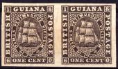 British Guiana 1c Colony Seal Imperf Proof Pair Thin Paper. - Guyana Britannica (...-1966)