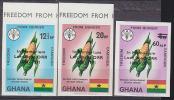 Ghana Freedom From Hunger Issue Imperforate Overprinted In Memoriam Lord Boyd ORR. Scott 418-20. - Ghana (1957-...)