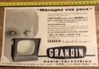 PUB PUBLICITE 50/60 RADIO TELEVISION GRANDIN - Vieux Papiers