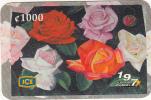 COSTA RICA - Roses, ICE Tel prepaid card C 1000, 09/02, used