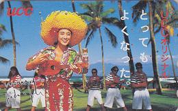 Télécarte Japon - HAWAII - Femme Musique Yukulele Pub CAFE - GIRL Music COFFEE Japan Phonecard- USA Rel. - 226 - Hawaii