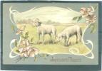 Relief - Gaufrée - Embossed - Prage - Fleurs +  Moutons - TBE - Pasqua