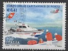 ITALY 2001 Harbour Master's Office - 800l Motorboat And Bell UH1 Iroquois Helicopter FU - 6. 1946-.. Repubblica