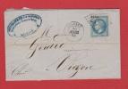 Lettre //  De Orléans //  Pour Vierzon //  30 Mars 1868 - Marcophilie (Lettres)