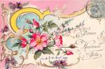 Cpa Fantaisie - Fleurs - Colombe - Style Art Nouveau - Fleurs