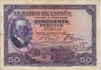 BILLETE DE ESPAÑA DE 50 PTAS  DEL AÑO 1927 CON RESELLO REPUBLICA ESPAÑOLA  (BANKNOTE) - 50 Pesetas