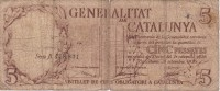 BILLETE DE ESPAÑA DE 5 PTAS DE LA GENERALITAT DE CATALUNYA  DEL AÑO 1936 (BANKNOTE) - [ 2] 1931-1936 : République